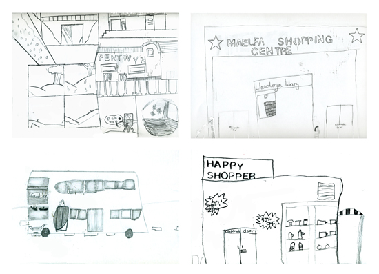 Line drawings of buildings