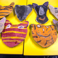Animal Heads made by pupils in the Art Cabin at