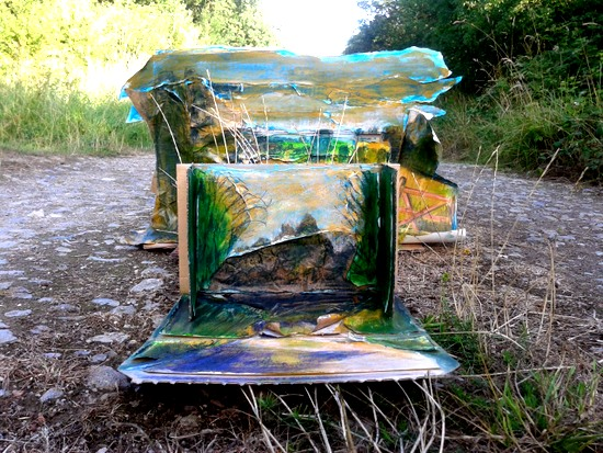 Be Inspired by Emma Davies. Image by Emma of 'Site Responsive Installation,' created at the Wild Networking Event, run by Fermynwoods Contemporary Art at the cottages in Fermyn Woods; work is in progress. Recycled materials, paint, pencil and pastel. 2013