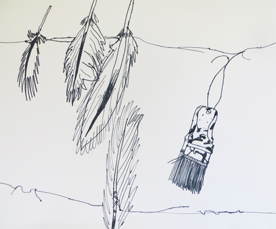 Continuous line drawing of installation