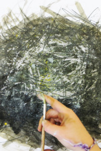 Flicking paint over graphite, wax resist and watercolour nest