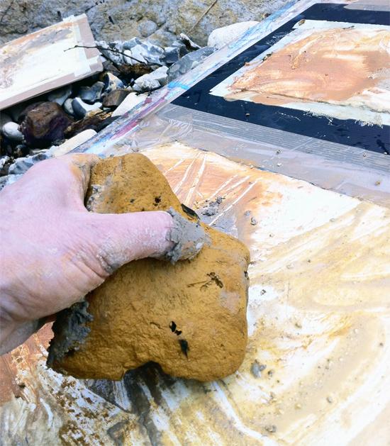 Site specif art - Using rocks for direct mark-making.