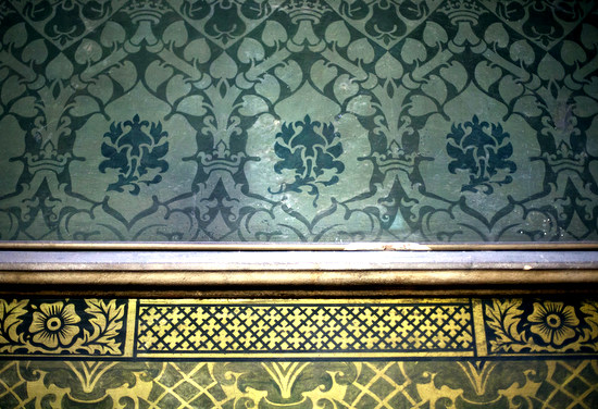Example of hand painted decoration on plaster at  All Saints Church, Cambridge