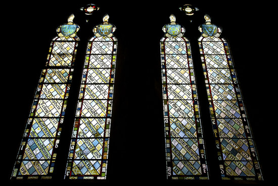 Stained glass windows at All Saints Church, Cambridge, painted by the Leach Brothers