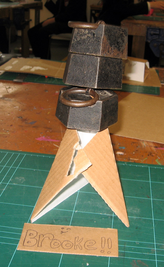 cardboard project - Andee Collard's brief: 'Make a cardboard structure to hold at least a 1KG weight'