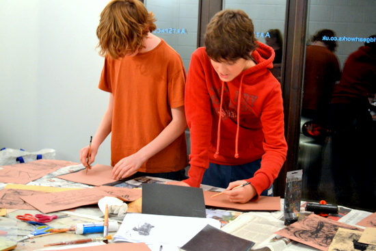 Boys work monoprinting with Sheila Ceccarelli at ArtWorks