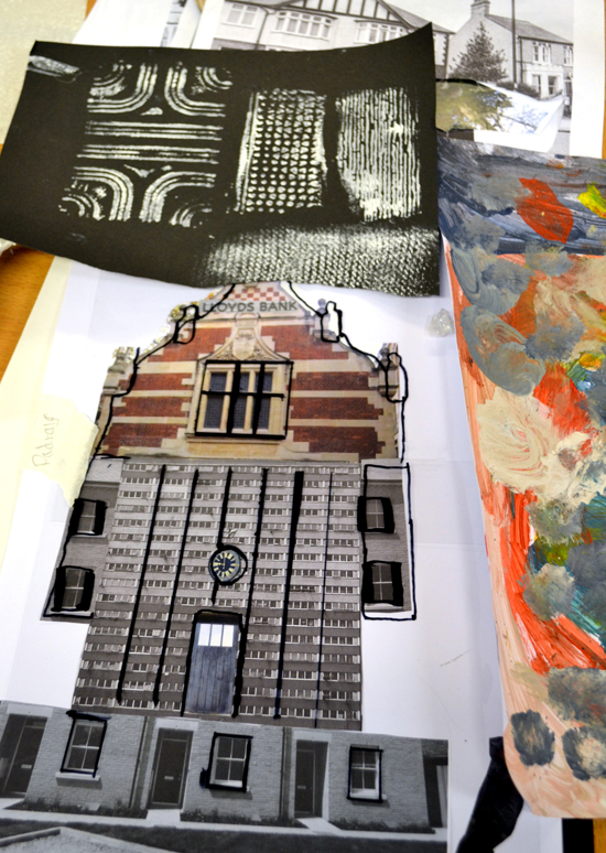 Artwork including collage of re-constructed buildings and textured paper from the morning's session