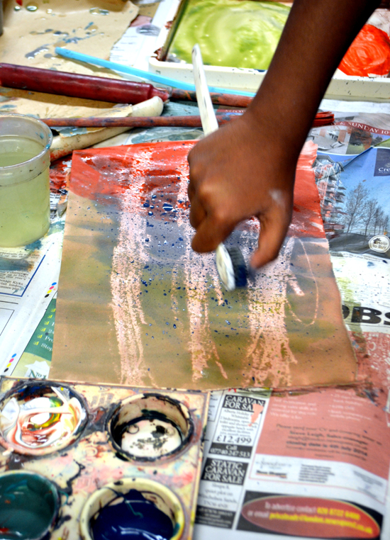 Creating textures with paint and wax