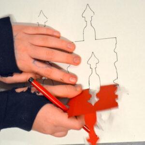 Exploring tessellated design using cardboard stencils