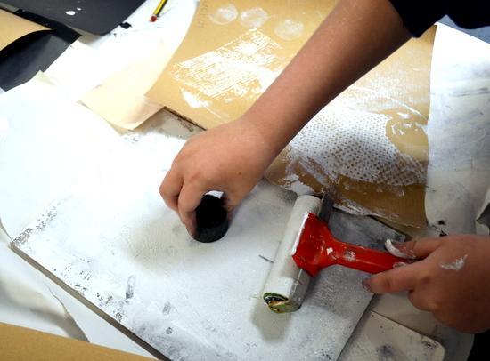 Exploring printmaking and making printed, textured paper
