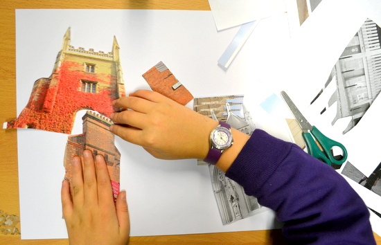 Pupils created their own buildings using cut up images of existing Cambridge buildings