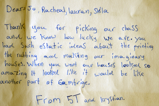 Letter from pupil at Ridgefield Primary School