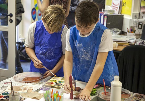 Pupils explore mark making with paint