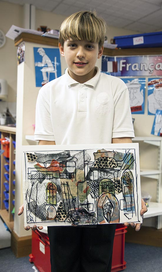 Pupil and his collaged work