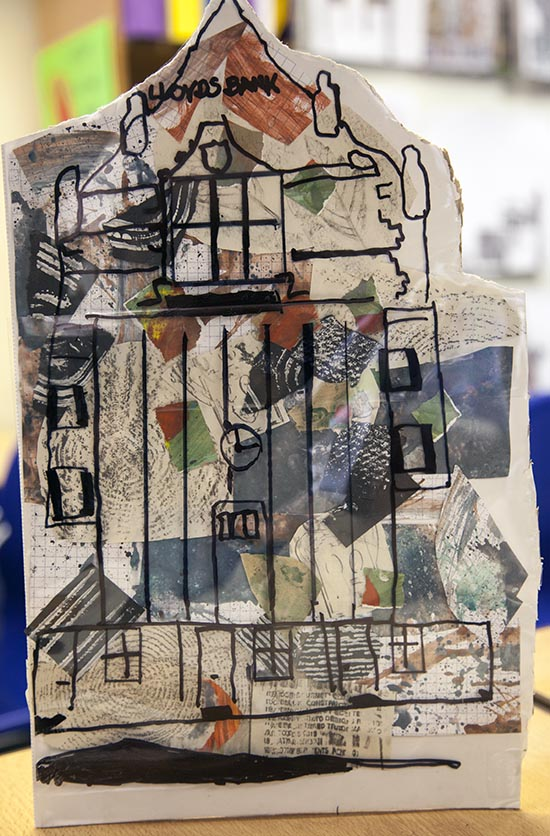 Building with collaged background made from textured paper in the morning session