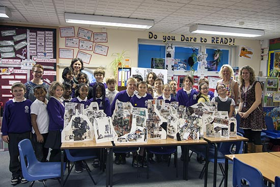 Pupils at Ridgefield Primary School with artists Rachael Causer and Jo Allen