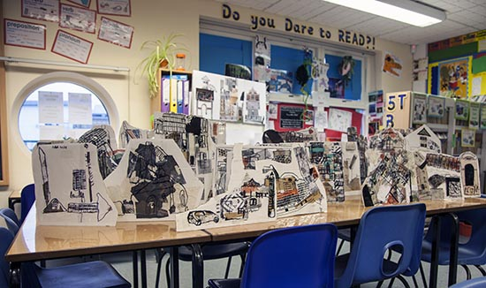 Townscape by pupils of Ridgefield Primary School with help from Jo Allen and Rachael Causer