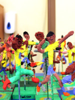 Finished painted and decorated Modroc figures A Brazilian football team1