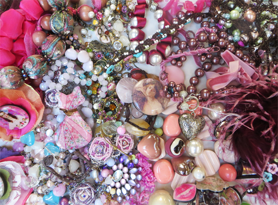 Soft pinks, browns, greys! Lots of smaller pieces (brooches, earrings etc) to complement larger beads and textures.