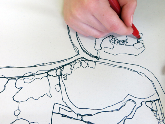 A session suitable for all ages, continuous line drawings are used to gather information taking inspiration was taken from Google earth images. A variety of media were then explored to extend and develop the drawings,