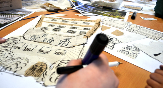 Using images of houses from around the world for inspiration, children explore mark making, line drawing and collage to create an image of their chosen building.
