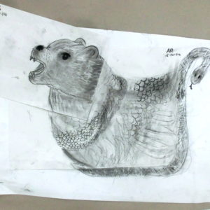 Children invent their own mythical creatures through drawing with artist Eleanor Somerset