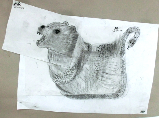 Amy's 'Bear - Lion - Snake' with Ellie Somerset in The Little Art Studio