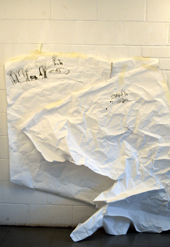 Even two pieces of huge, scrunched up paper taped to the studio wall enough to fuel ideas into the future