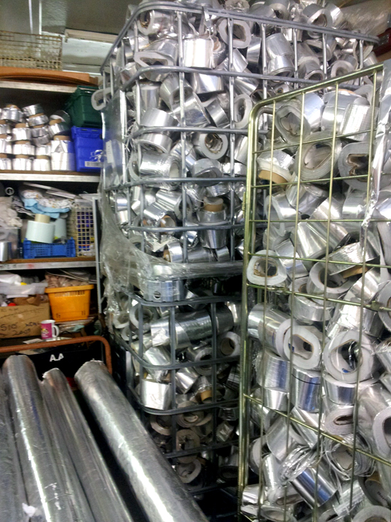 Aluminium sticky back foil saved from land fill by Michelle and team at the Scrap Shack
