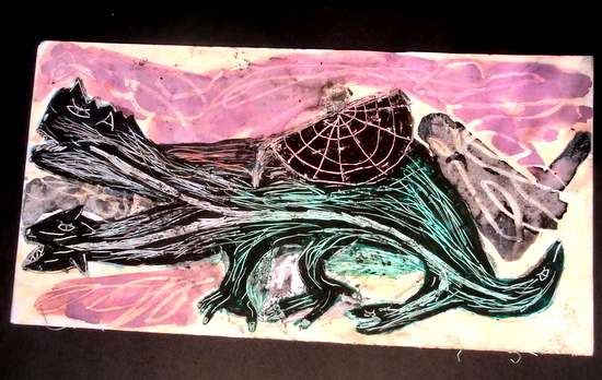 Ruben's finished piece of sgraffito foamboard