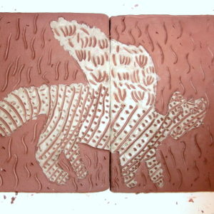 Scratching onto clay tiles