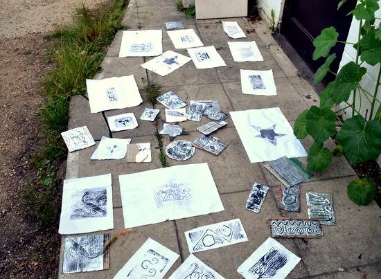 Prints and plates at ArtWorks Studios Cambridge by AccessArt's Experimental Drawing Class