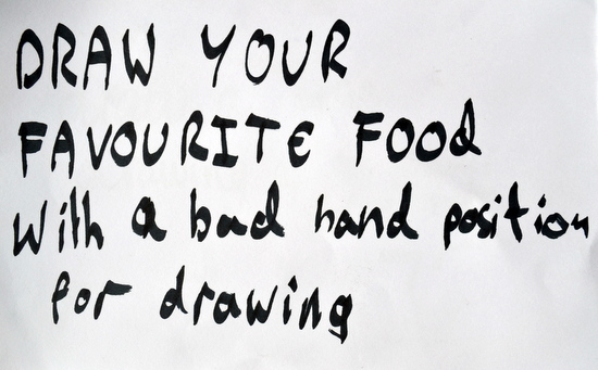 Draw your favorite food with a bad hand position - Drawing prompt by teenager at AccessArt's Drawing Class for Teenagers