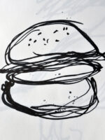 Draw your favourite food with a bad hand position for drawing - Drawing from a prompt by teenager at AccessArt's Drawing Class for Teenagers