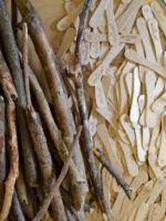 materials wood, sticks and straws