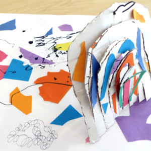 """Year 5 pupils worked in cardboard inspired by the work of artist Joan Miro. <a href=""""http://""""/inspired-miro-collage-automatic-drawing-sculpture/"""""""" class=""""shortcode button    """"xlarge"""" style=""""background-color: """"#78608e"""";color: """"#ffffff"""";"""">Read More</a>"""