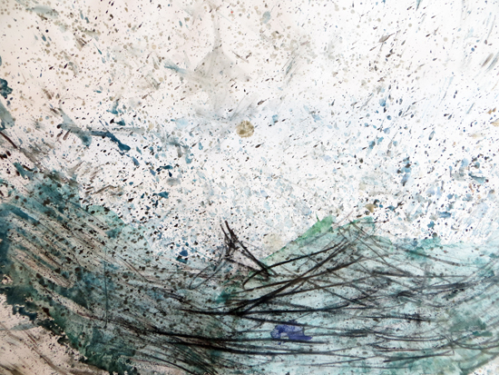 Graphite, watercolour, wax resist
