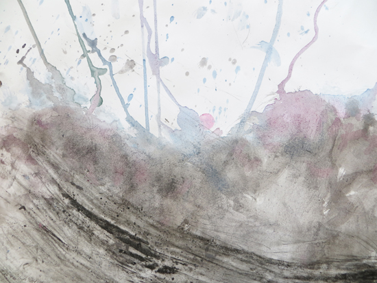 Gravity, watercolour and graphite to build a wave