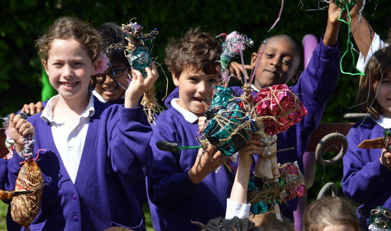 Pupils at Ridgefield Primary School with their finished sculptural birds