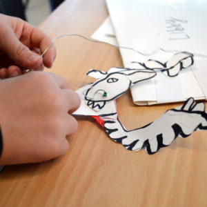 Young children use pliers, needles and wire to turn their contour drawings into wonderful, articulated beasts.  They are encouraged to work independently and gain confidence in their own ability to use the tools with limited intervention.