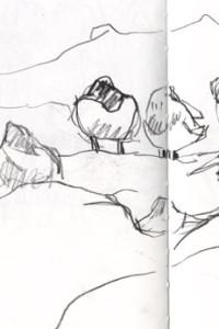 Group of waders, sketchbook page