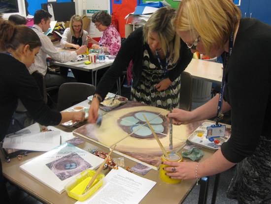 Second Key Skill CPD training Parkfield Primary School staff painting CPD