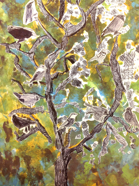 Birds in the Trees: Battyeford Primary School drawing and collage