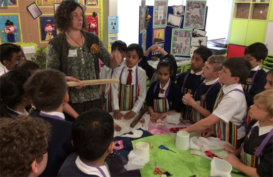 Sarah Branston with year 4 children