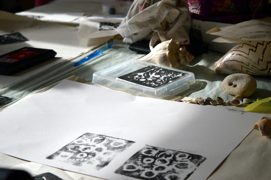 Steve's prints - the design was created by pressing shells into foam board and then using it to create multiple prints