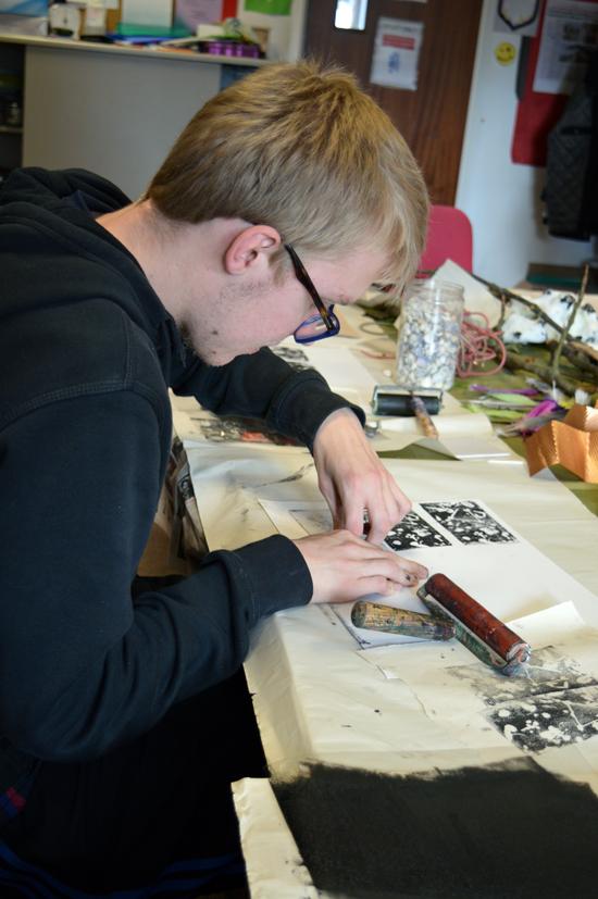 Martin revealing his print