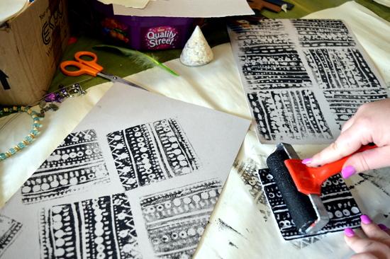 Alice creates repetitive designs using block printing