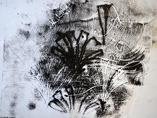 Mono-print made by drawing around a Moorish pattern