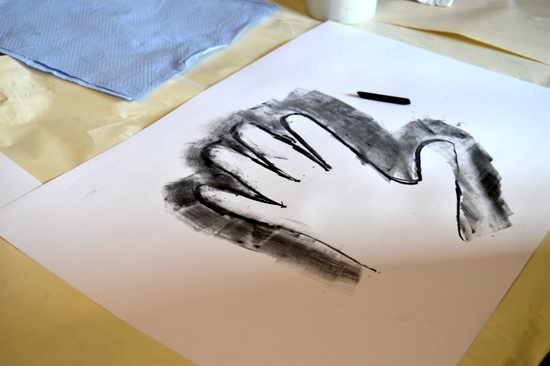 Hand drawing in charcoal