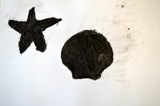 Charcoal filled shells by student at Red2Green